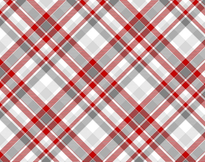 Henry Glass Fabrics - Winter Whimsy Flannel - Red/Grey Plaid set on Bias Flannel # F1628-89 - 100% Cotton Flannel