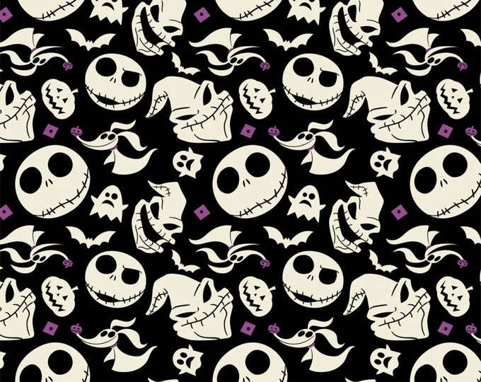 Camelot Fabrics - Jack is Back (Nightmare Before Christmas) -  Faces - Black - Cotton Woven Fabric