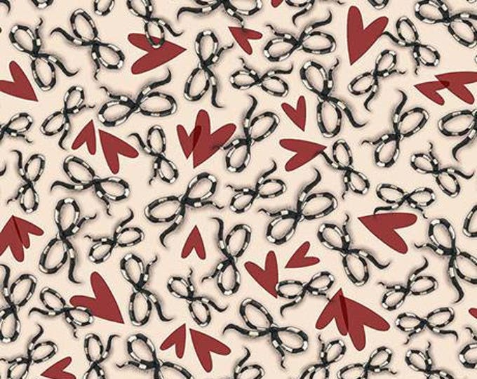 Quilting Treasures - Santoro's Gorjuss Letters from the Heart -   Bows and Hearts Beige Cotton Woven Fabric