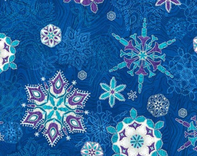 Robert Kaufman Fabric - Holiday Flourish - Peacock Snowflake w/Metallic - APTM-17337-78 -  Metallic Cotton Woven Fabric