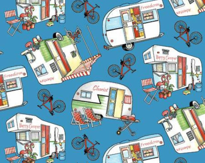Henry Glass - Happy Campers - Campers and Bikes on Blue 1334-77    Cotton Woven Fabrics