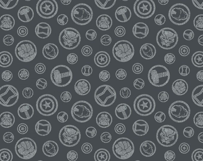 Camelot Fabrics - Licensed Marvel Avengers - Charcoal Hero Symbols #13050102-3 Cotton Woven Fabric