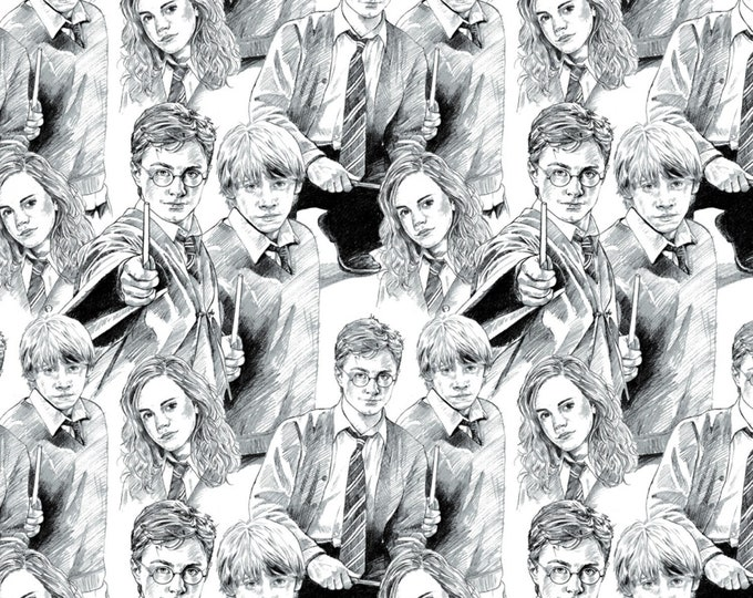 White Line Art Harry Potter Cotton Woven Fabric #2380015-1 - Licensed Wizarding World by Camelot