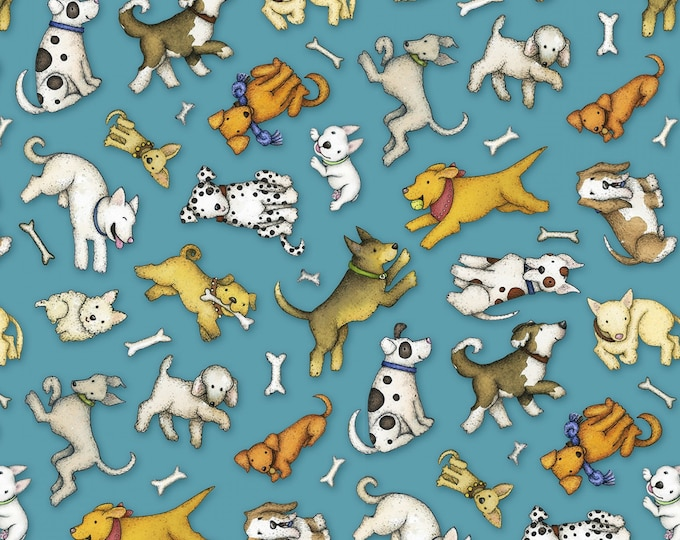 Henry Glass Fabrics - All You Need Is Love and a Dog by Beth Logan -  Tossed Dogs # 9049-077 Blue - Cotton Woven Fabric