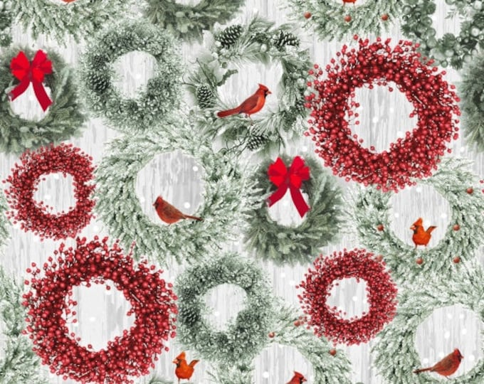 Henry Glass Fabric - Holiday Wishes - Wreaths     6931-66 Cotton Woven Fabric