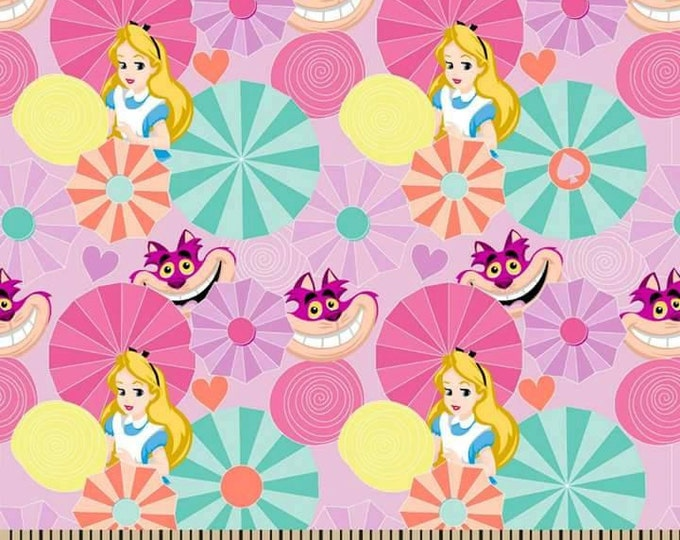 CLEARANCE -      Alice in Wonderland and Cheshire Cat on Pink Cotton Woven Fabric - PRICE is per YARD