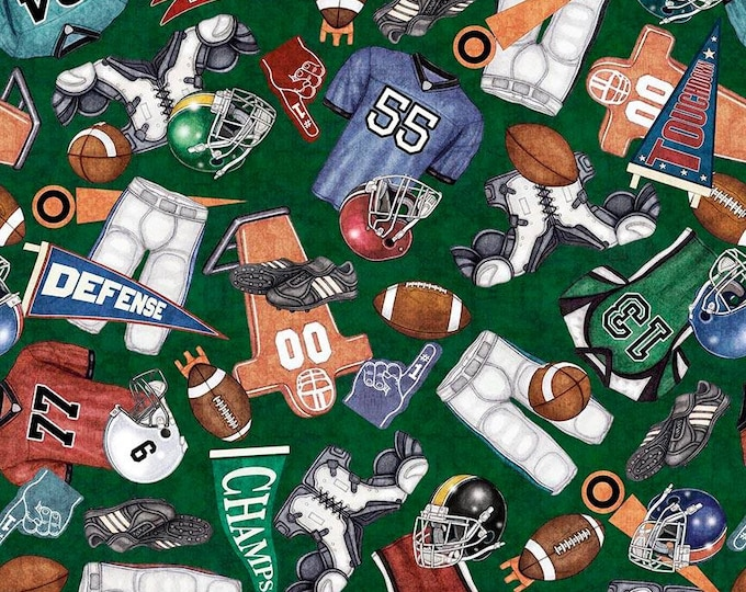 Quilting Treasures - Gridiron -  Everything Football Green Cotton Woven Fabric