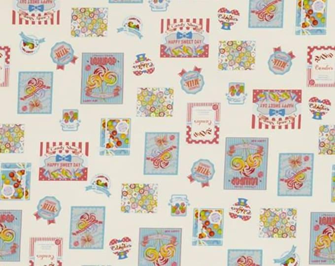 Lecien Fabrics - Candy Shop - Candy, Gum, Sweets, Lollipop Blue Border Design Cotton Woven Fabric