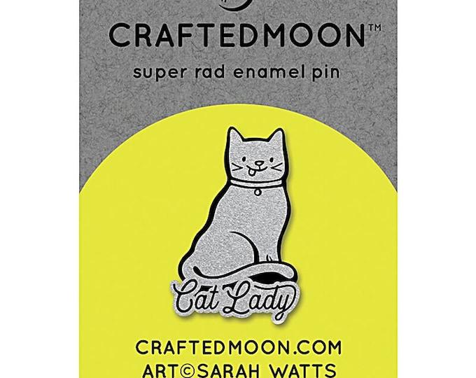 """Fun Stuff -Moda Fabrics -  Ruby Star Society CRAFTEDMOON Enamel Pins - Cat Lady CM ENP 004 - 1.25"""""""
