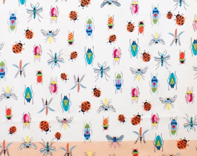 CLEARANCE -        Alexander Henry Fabric - SALE   !! Tropical Bugs peach natural Cotton Woven Fabric  - Price is per yard !
