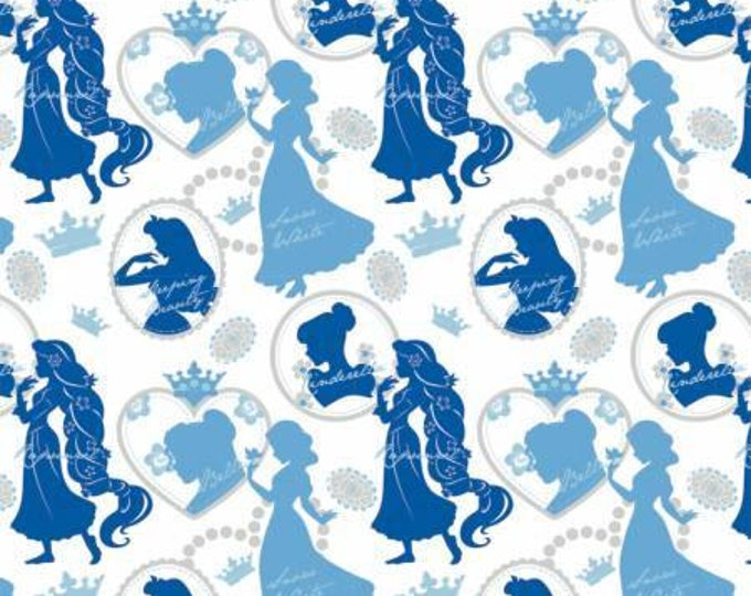 Camelot Fabric - Disney Princess Blue Cameos Cotton Woven Fabric