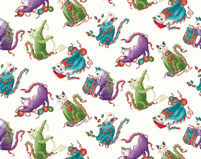 Benartex Fabrics  - Cat-i-tude Christmas by Ann Lauer -Playful Cats on White Cotton Woven Fabric with Metallic Accents 6744MB-09