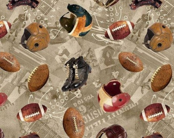 Vintage Football Helmets, Cleats, and Football Cotton Woven by Timeless Treasures