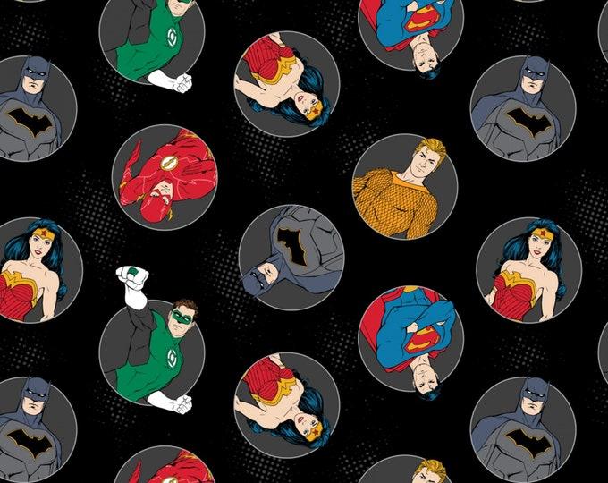Justice League Activated - Black Badges  - Cotton Woven Fabric - Camelot