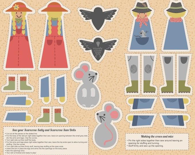 Scarecrow Acres - Sam & Sally Scarecrow - Digitally Printed 36 Inch Cotton Woven Fabric Panel