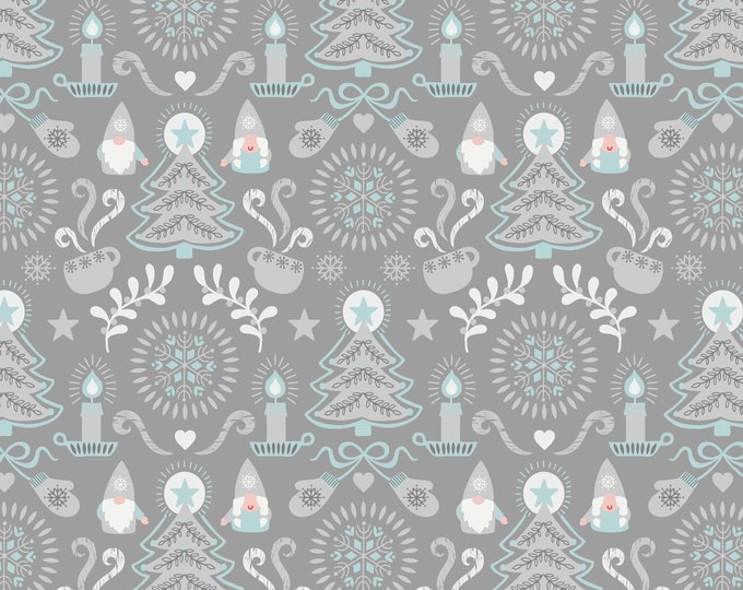 Hygge Christmas - Main Tonttu & Trees - Gray - Cotton Woven Fabric - Blank Quilting - C28.1