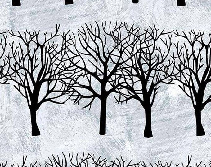 Andover Fabric - Winter Moon by Two Can Art - Black Winter Trees 8517-C Cotton Woven Fabric