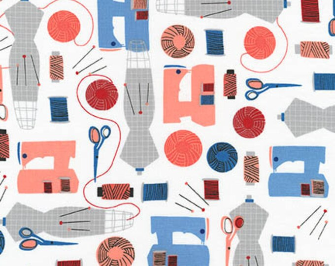 Robert Kaufman Fabric - Sew Dressed up - Navy Sewing Room Cotton Woven Fabric