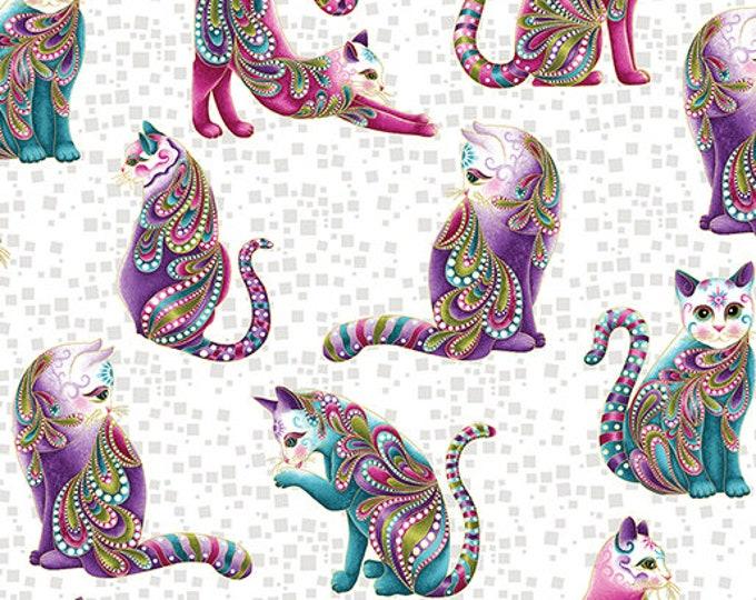 Benartex Fabrics - Cat-i-tude - Artisto Cats on White  Cotton Woven Fabric