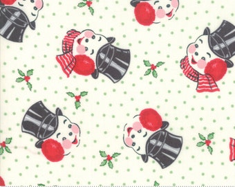 Moda Fabrics - Sweet Christmas by Urban Chiks - Mr. Snowman Marzipan #31152 11 Cotton Woven Fabric