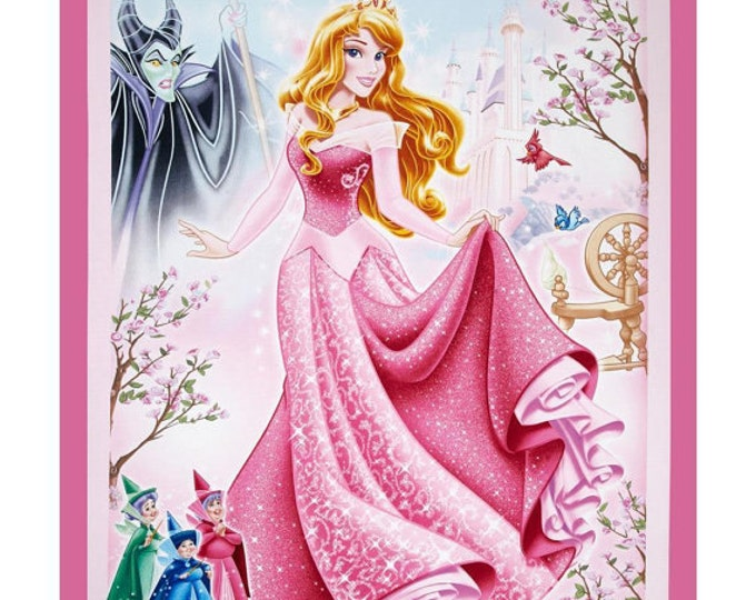 CLEARANCE -      Sleeping Beauty Princess Cotton Woven Panel on Pink