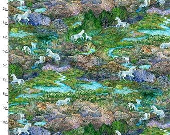 3 Wishes Fabric - Celestial Journey by Josephine Wall - Landscape Green 17136-GRN - Digitally Printed Cotton Woven Fabric