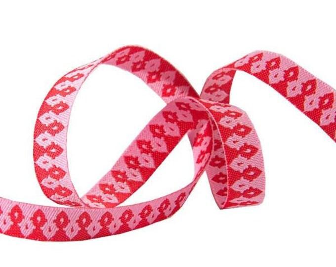 Tula Pink - Chipper - woven ribbon, Wanderer Hot Pink woven ribbon