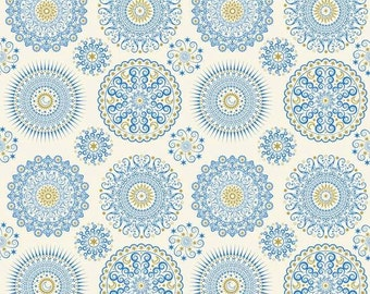 Quilting Treasures - Celestial Sol -  Ecru Mandalas blue and ivory Cotton Woven Fabric