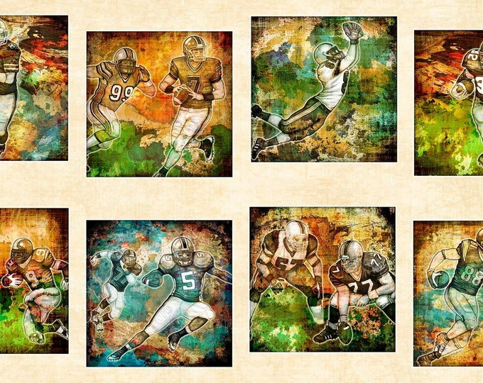 Quilting Treasures - Gridiron - Football Picture Patches on Cream Panel 24 inches Cotton Woven  Fabric