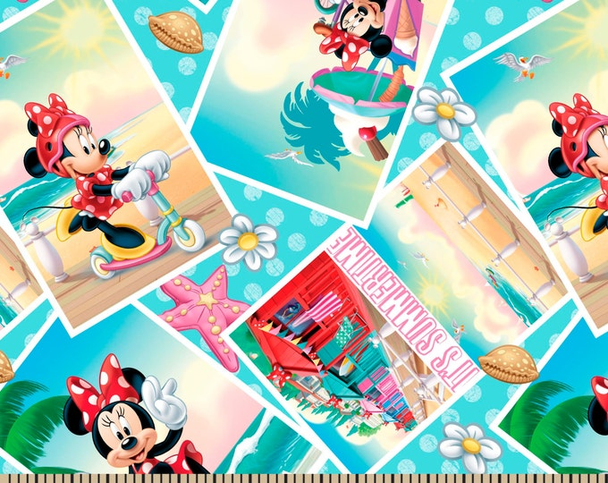 SALE !!!!  Minnie Mouse Summertime Cotton Woven 1 Yard  - Price per yard !