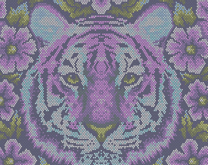 Tula Pink Eden Crouching Tiger in Amethyst Cotton Woven
