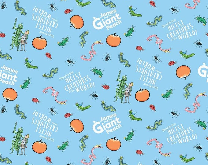 James & the Giant Peach - Creatures - Blue - Cotton Woven Fabric - Riley Blake Designs