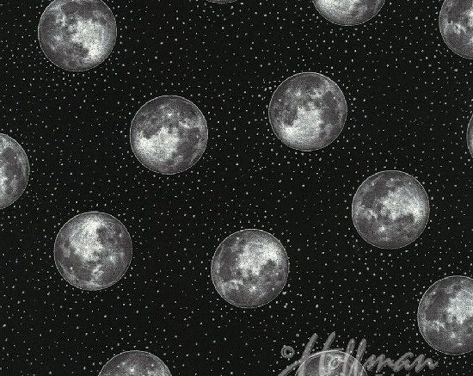 Hoffman Cats - Silver Moons on Black - Metallic Cotton Woven Fabric