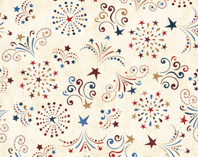 Quilting Treasures - American Pride - Cream Fireworks 26978E Digitally Printed Cotton Woven Fabric