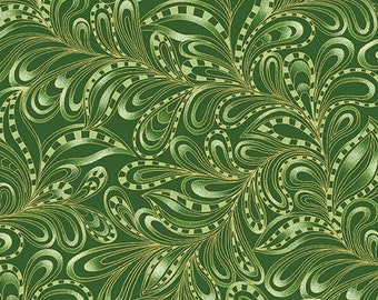 Benartex Fabrics  - Cat-i-tude Christmas by Ann Lauer -Forest Featherly Paisley Cotton Woven Fabric with Metallic Accents 7555M-43