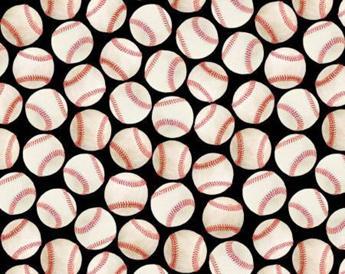 Kanvas - Baseballs on Black Cotton Woven Fabric