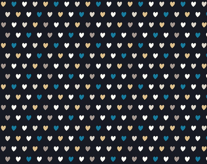 Stof Fabrics - Avalana Knits - Small Multi Hearts on Black Ground - 19-186 - Cotton/Spandex Knit