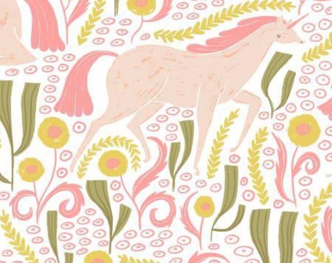 Dear Stella - Fable -  Unicorns on white Cotton Woven Fabric