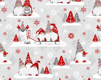 Henry Glass Fabrics - Winter Whimsy Flannel - Grey Groups of Gnomes Flannel # F1627-89 - 100% Cotton Flannel