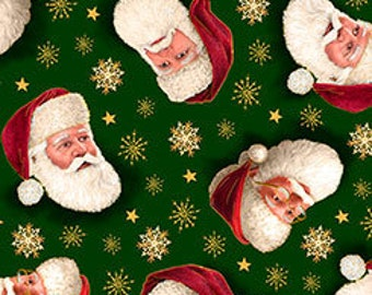 Quilting Treasures - Christmas Eve - Santa Faces Tossed on Green - Metallic Cotton Woven Fabric