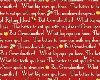 Little Red Riding Hood, 50299-4,  Red Words Cotton Woven fabric