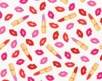 Love and Lipstick on White Lips and Lipstick Cotton Woven by Robert Kaufman