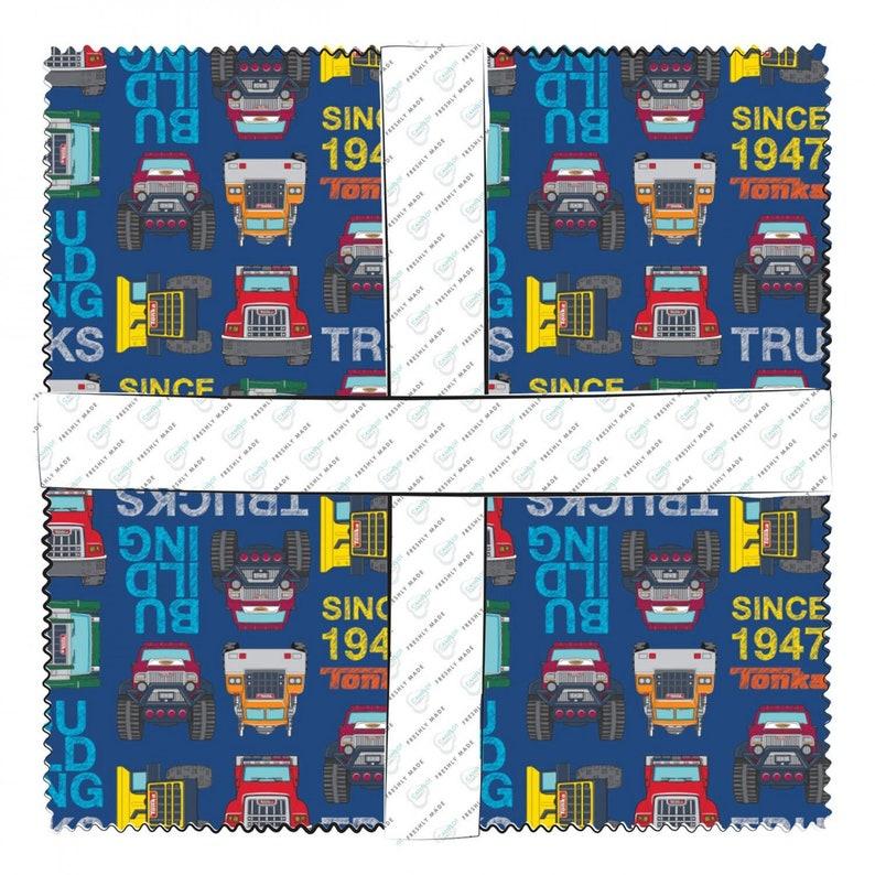 10 Squares Tonka 42 Piece Bundle #95060106SQU Cotton Woven Fabric Camelot Fabrics Licensed Tonka Truck