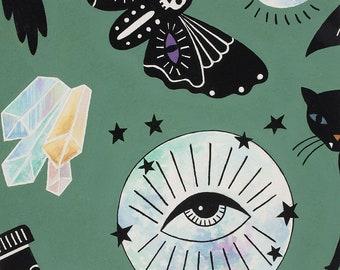 Alexander Henry Fabrics - Haunted House - Eye of the Moon Green 8887C - Cotton Woven Fabric