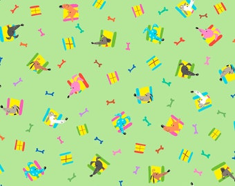 Quilting Treasures - Dogtown - Neighbors - Green - Cotton Woven Fabric