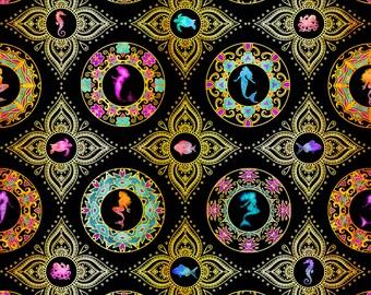 Quilting Treasures - Sea Serenade - Black Medallion #27193-J Cotton Woven Fabric