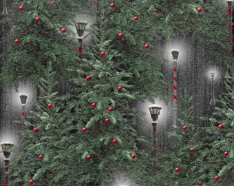Henry Glass Fabric - Holiday Wishes - Lanterns Green     6926-90 Cotton Woven Fabric