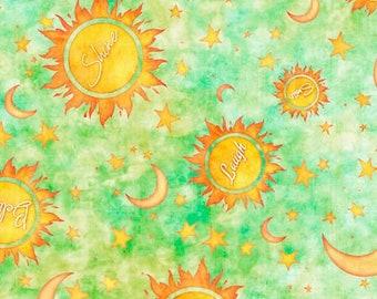 Quilting Treasures - Dream Big by Dan Morris - Sun/Moon/Stars Light Green 27575 H- Cotton Woven Fabric