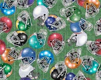 Quilting Treasures - Gridiron - Helmets on Green Cotton Woven  Fabric