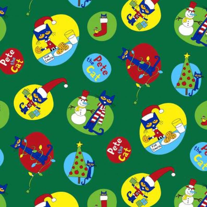 Pete The Cat Christmas.Pete The Cat Christmas On Green Cotton Woven Fabric